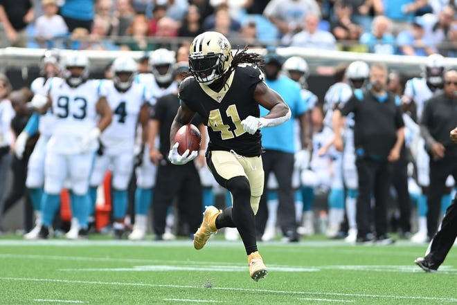 The Saints' offense is powered by running back Alvin Kamara, who is just as effective catching passes out of the backfield as he is carrying the ball.