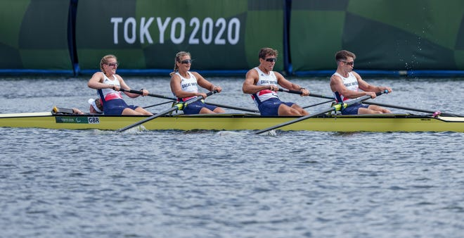 The U.S. team that included Allie Reilly finished second to Britain's Ellen Buttrick, Giedre Rakauskaite, James Fox, Oliver Stanhope and Erin Kennedy the mixed coxed four — PR3Mix4 — during the Tokyo 2020 Paralympic Games on Aug. 29.
