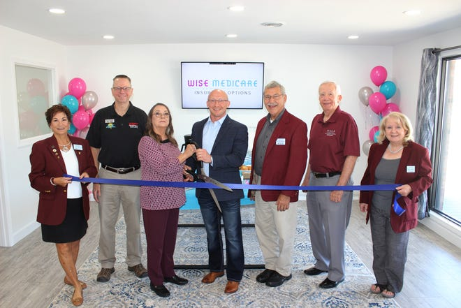 The Rolla Area Chamber of Commerce held a ribbon cutting for Wise Medicare. Holding the scissors are Jeremy Tyler, Owner, and Gale Tyler.