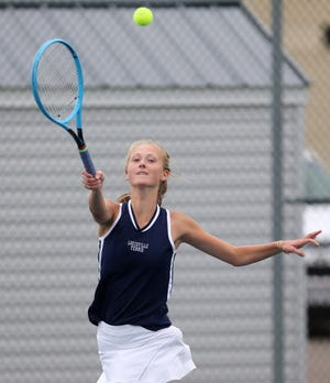 Rachel Kibler of Louisville returns a volley during a match against Lake last month.