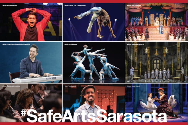 Images from events presented by the first nine arts organizations who launched the #SafeArtsSarasota initiative for COVID-19 safety protocols.