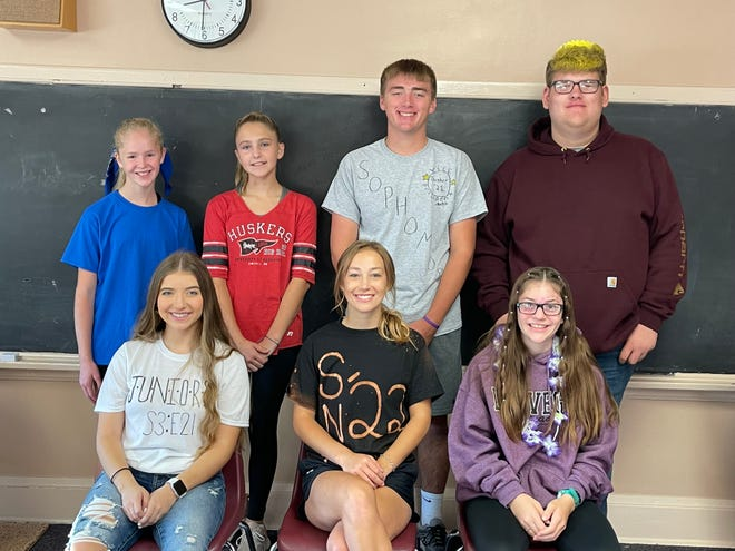 Groton Area Middle and High Schools September Student of the Month. are, back row, from left, Teagan Hanten, Elizabeth Cole, Colby Dunker, Corbin Weismantel, front row, Shaylee Peterson, Alyssa Thaler and Natalia Warrington.