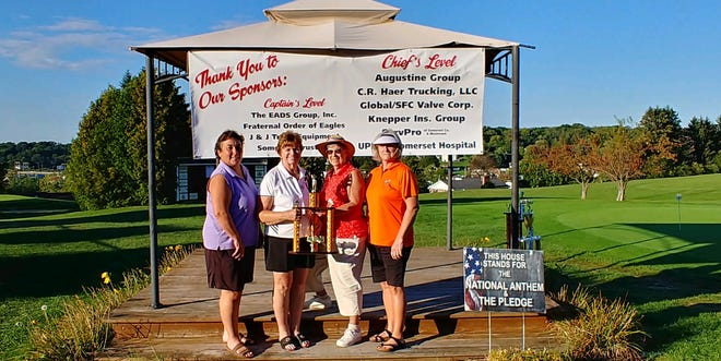 First place in the Ladies Division are, left to right: Pam Rohrer, Kathy Hay, Nancy Miller and Susan Dabbs.