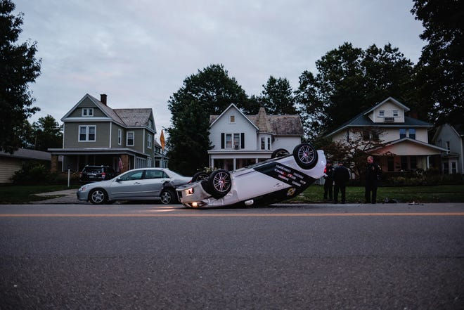 A 38-year-old Sherrodsville woman was cited for failure to control after she hit a parked car in the 300 block of N. Broadway in New Philadelphia at 7:05 p.m. Thursday. The northbound 2012 Toyota Scion flipped onto its roof after clipping the parked car, according to New Philadelphia police Capt. Ty Norris. The driver was treated at the scene for minor injury.