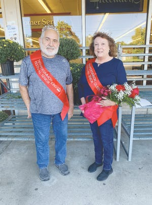 Joe and Linda Fleenor of Mitchell were crowned Persimmon Festival senior king and queen Wednesday during Senior Citizen Day. The couple has been married 53 years. The festival thanks Hoosier Uplands for providing the crowns and  Mitchell Manor for providing the flowers.