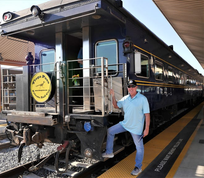 John boards the Tioga Pass at Union Station in Los Angeles.