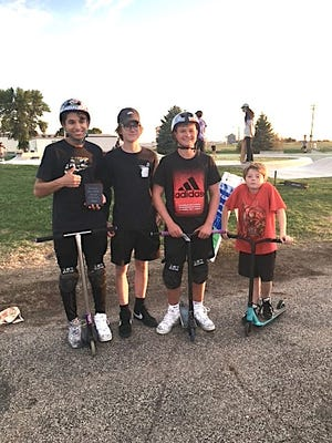 The Watertown Park and Recreation Department held a skateboard and scooter competition Sept. 17. The event was open to all ages and had participants from different states and neighboring cities.Scooter competition winners are, from left, William Foell, of Pierre, first place; Andrew Anderson, of Pierre, third place; Blake Weisgram, of Pierre, second place; and Allen Moore, of Missouri, fourth place.