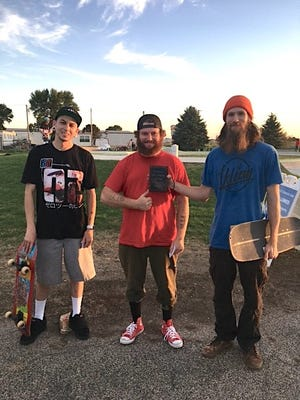 Skateboard competition winners are, from left, Mark Stevenson, of  Sisseton, second place; L.J. Nessen, of Watertown, third place; and David Duerr, of Clear Lake, first place.