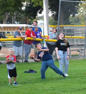 Fourth Grader Raider Rodengen proved his football passing skills during the Watertown Park and Rec Punt, Pass and Kick event Thursday night.