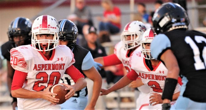 Aspermont's Carson Guidry (20) looks for running room as TLCA-Abilene's Heath Shim (12) defends in the first half.