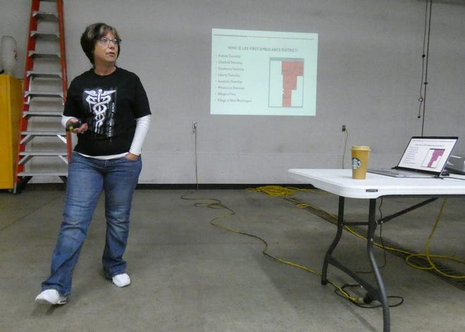 Lisa Leonhart, a medic for Chatfield and a member of the Friends of the Life First District, speaks during an information town hall meeting Thursday evening at the Chatfield Fire House.