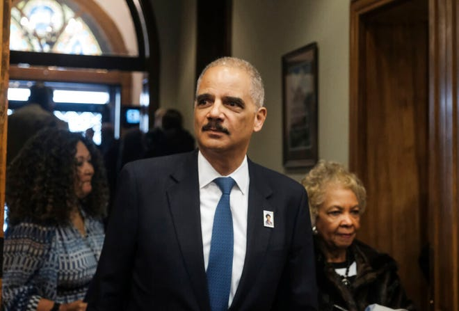 Former U.S. Attorney General Eric Holder arrives for a ceremony in Washington, D.C. last year.