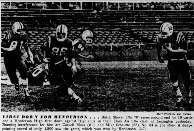 As pictured in a Nov. 1959 Courier Journal, Henderson High defeated Highlands for the first-ever KHSAA Class AA football championship. That same year, Manual defeated Durrett for the first Class AAA (largest class at the time) title.