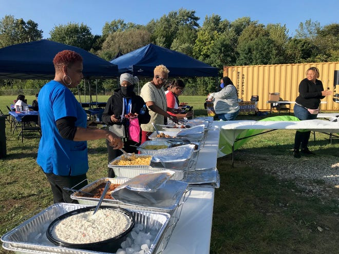 Walter Bonham of The Food Lab catered a meal Friday night at the BBQ & Black Business Expo at the NECIC Urban Farm, 311 Bowman Street.