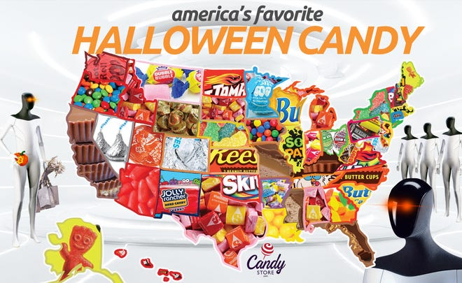 Every year, CandyStore.com compiles sales data to determine each state's bestselling Halloween candy.