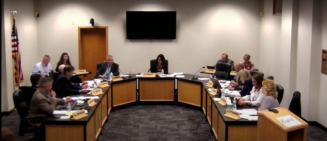The Waukesha School Board is shown here in a screenshot of a video of its Sept. 15 meeting. Board members heard from district residents and parents who were concerned about a letter Waukesha School District superintendent James Sebert and Waukesha School District deputy superintendent Joe Koch sent to staff in August saying they couldn't display Black Lives Matter, Blue Lives Matter, Thin Blue Line, Anti-racist classroom and other related materials in their classrooms.