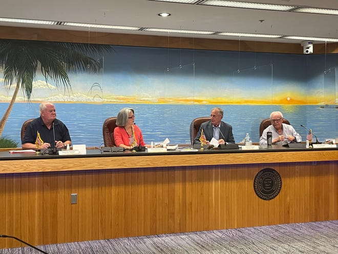 On Friday, Sept. 24, 2021, the Naples 'blue ribbon' committee voted 5-2 to recommend to City Council a 8.2% salary increase for the mayor and council members. From left to right: Charles Seeger, Julie Domenick, David Feight and Jerry Brown. Other committee members were not physically present, but participated remotely via a video call.