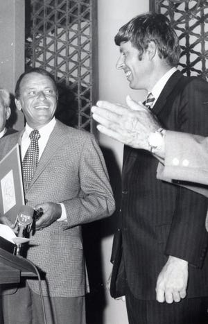 Frank Sinatra receives honorary Cathedral City Mayorship on May 30, 1972, from United States Senator John Tunney, a longtime friend of both the singer and the Kennedy family