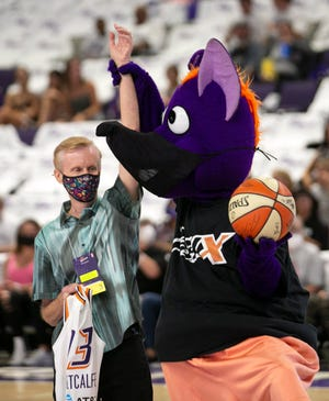 Mercury Liberty during the first quarter of the first round WNBA play-off game at Grand Canyon University in Phoenix on September 23, 2021.