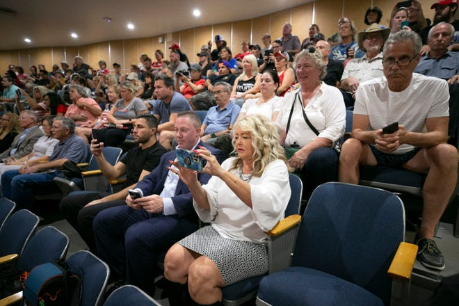 The public fills the upstairs gallery of the Arizona Senate chambers to listen to the presentation of the report on the election audit at the Arizona Capitol in Phoenix on Sept. 24, 2021.