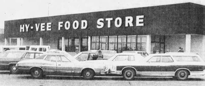 The image is of the Empire Hy-Vee shortly after it opened in 1977.