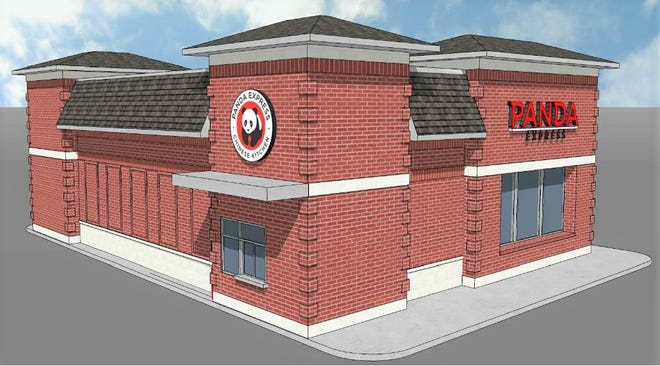 This is a rendering of what the Panda Express restaurant at the Crossings at Golden Link would look like from the northeast.