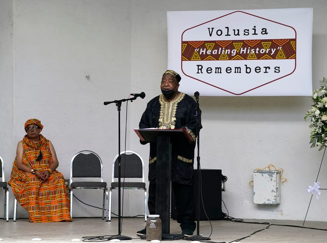 Retired Hubert Grimes, who was Volusia County's first Black judge, speaks at a Remembrance of Life honoring Lee Bailey in DeLand, Saturday, Sept. 25, 2021. Bailey was lynched 130 years ago in DeLand.
