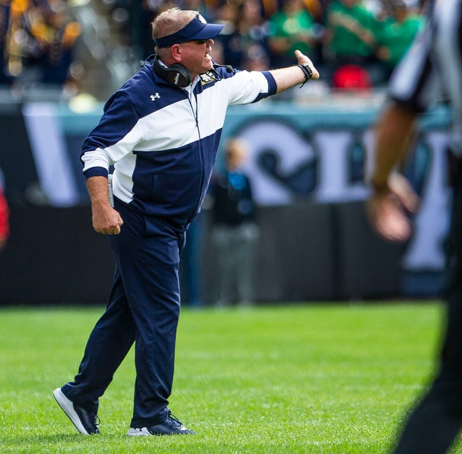 Notre Dame head coach Brian Kelly gets vocal during historic win No. 106 at ND, a 41-13 takedown of Wisconsin, Saturday, Sept. 25, 2021 at Soldier Field in Chicago.