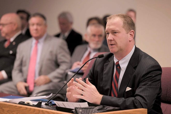 Missouri Attorney General Schmitt testifying to a Missouri House committee (photo by Tim Bommel, Missouri House Communications).