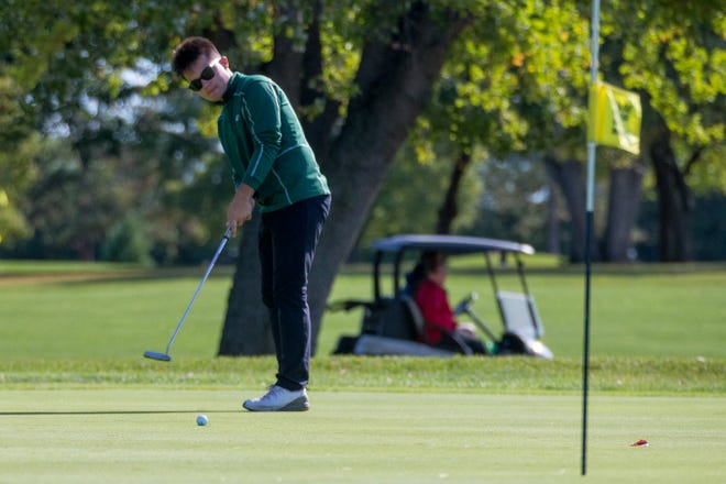 Cooper Watt, shown winning his second NIC-10 title on Sept. 25, helped Boylan advance to state in Monday's Class 2A boys golf regional at Kishwaukee Country Club in DeKalb.