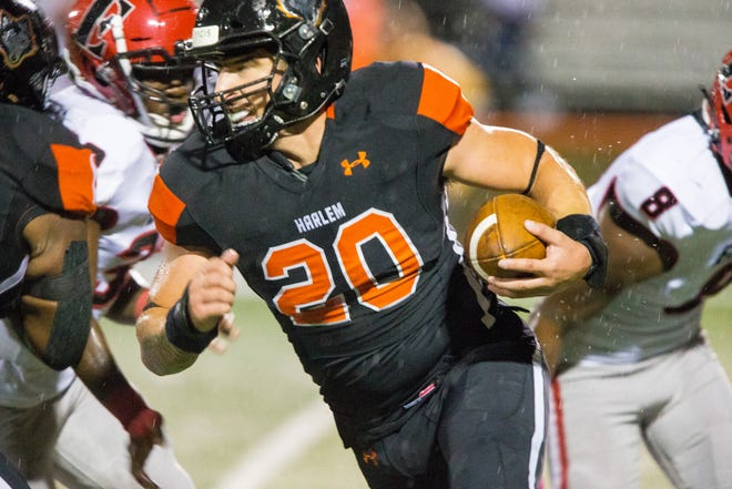 Harlem's Adrian Palos is leading the NIC-10 in tackles for the third year in a row and now has also taken on a big role on offense and ranks second in the NIC-10 in rushing.