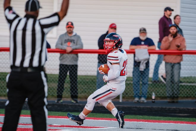 Indian Valley's Gavin Henry takes the ball into the end zone for a touchdown last Friday night.