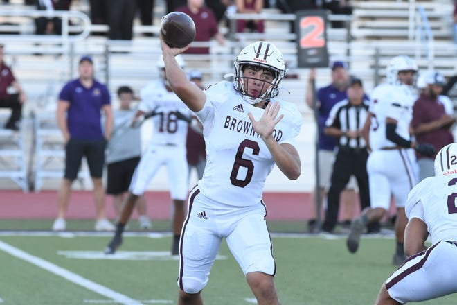Brownwood quarterback Chance Jones (6) throws a pass during Friday's game against Wylie at Hugh Sandifer Stadium on Sept. 24, 2021. The Lions couldn't overcome a 42-0 deficit in the 49-21 loss.
