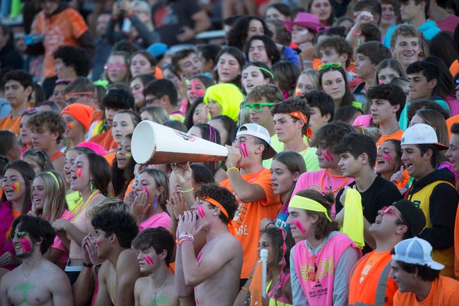 Cherokee fans cheer on their team during the football game between Washington Township and Cherokee played at Cherokee High School on Friday, September 24, 2021.