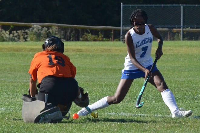 Woodstown senior goalie Ella Roberts deflects a pass away from Williamstown forward Brylee Barry