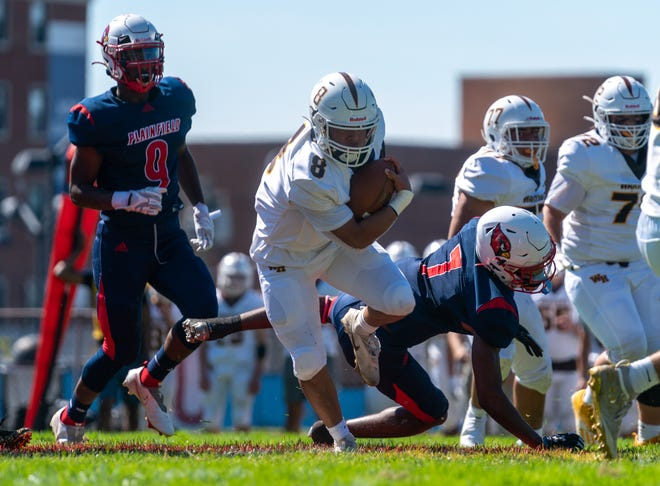 Watchung Hills and Plainfield high school football teams met Saturday afternoon at Hub Stine football field at Plainfield High School.