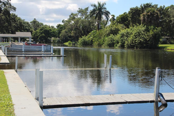 """These docks are used by residents of """"Harmony Shores Mobile Home Port"""", a community within the City of Naples and along the upper reaches of Haldeman Creek, east of Bayshore Drive. The extreme tide caused the upper surface of a number of their docks to be submerged or nearly submerged. The water line is also close to overtopping the sea wall."""