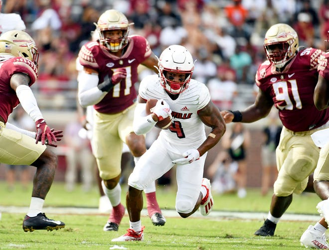 Sep 25, 2021; Tallahassee, Florida, USA; Louisville Cardinals wide receiver Braden Smith (4) runs with the ball during the first quarter against the Florida State Seminoles at Doak S. Campbell Stadium. Mandatory Credit: Melina Myers-USA TODAY Sports
