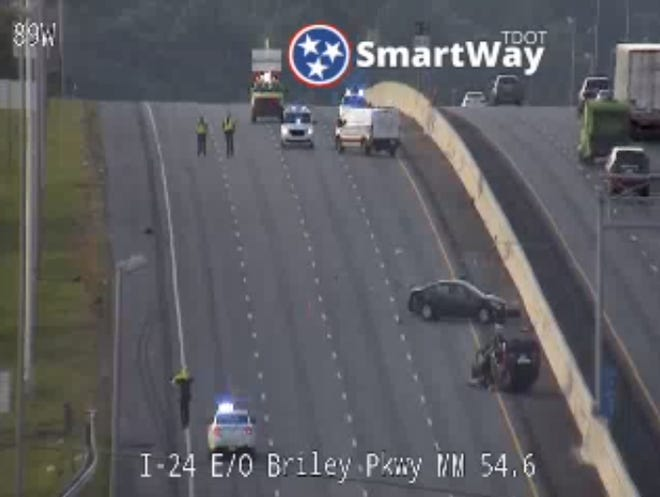 A multivehicle accident left one car rolled over and blocked all westbound lanes of traffic on Interstate 24, Saturday Sept. 25, 2021.