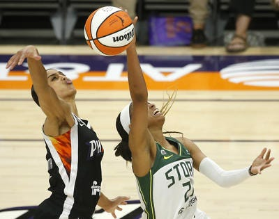Skylar Diggins-Smith and the Phoenix Mercury will try to limit Jewell Loyd and the Seattle Storm on Sunday in a WNBA playoff second round elimination game.