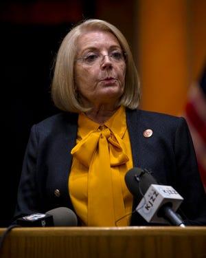 Arizona Senate President Karen Fann speaks with reporters after the election audit on Sept. 24, 2021.