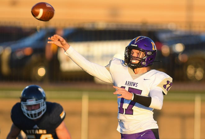 Watertown's Drew Norberg throws a pass on Friday, September 24, 2021, at Tea Area High School.