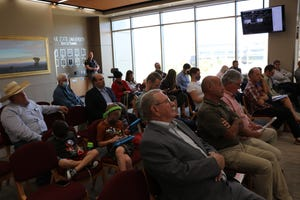 A modest sized crowd gathers in St. George to share their opinions on redistricting in southern Utah, Sept. 24, 2021.