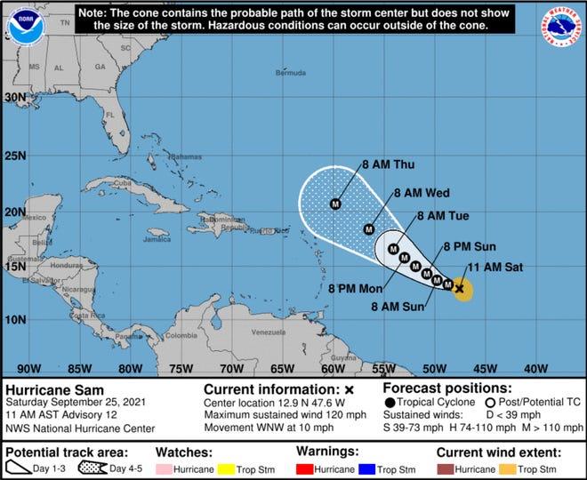 Sam became a major hurricane on Saturday.