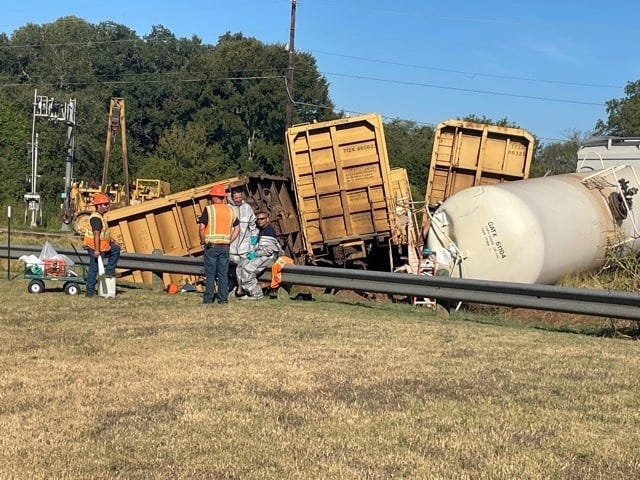 The city of Smithville posted photos, including this one, and updates on its Facebook page throughout the day after a train derailed Sunday morning. Chemical residue leaked from one tanker leading to the evacuation of nearly 25 homes.