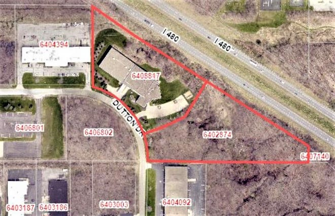 This map shows the site of the future Airgas facility between the curve on Dutton Drive and I-480 in Twinsburg.