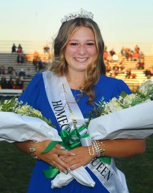 Mara Woost was selected as the 2021 West Branch Fall Homecoming queen prior to the Warriors' game Friday, Sept. 24, 2021, against Warren Howland.
