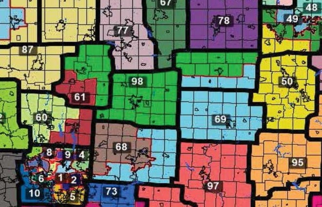 A section of the map for Ohio House districts approved by the Ohio Redistricting Commission on September 15, 2021