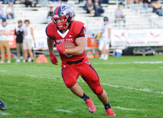 Boyne City running back Bobby Hoth nearly came through with his second 200-yard game of the season, finishing with 199 against the now 5-0 Gladiators.