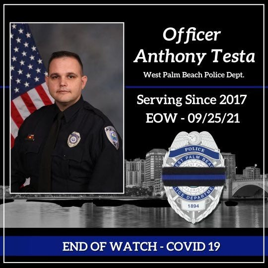 West Palm Beach Officer Anthony Testa died of COVID-19, the department announced early Sunday.